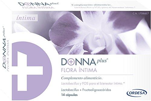 DonnaPLus Flora Íntima, 14 cápulas. Complemento alimenticio a base de Lactobacillus y FOS para el bienestar íntimo. 2 cápsulas al día.