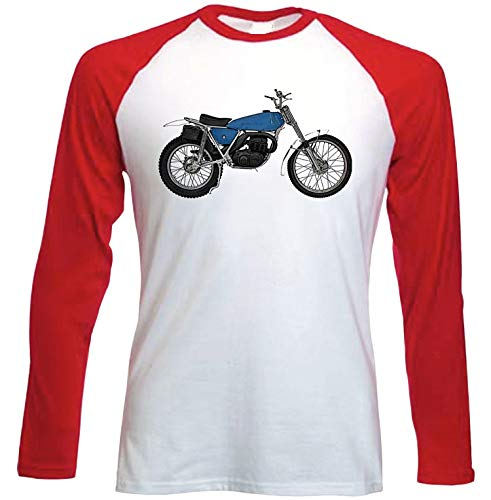 Teesandengines Bultaco Sherpa 175 Camiseta de Mangas roja largas t-Shirt Size Xlarge
