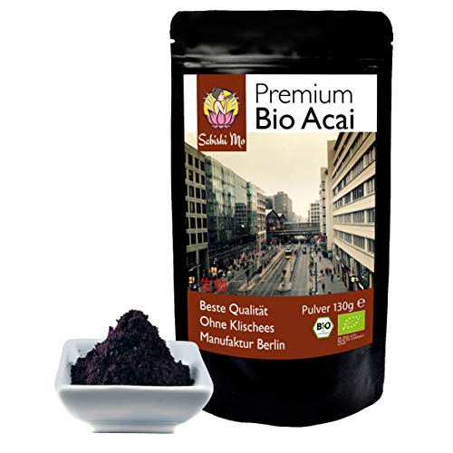 Sabishi Mo - Bio Acai Pulver 130g, Amazonas, schwarz, violett, nussig im Geschmack, TOP Qualtiät, kontrollierte Bio Qualität, direkt aus dem Urwald, in Berlin abgefüllt. DE-ÖKO-070