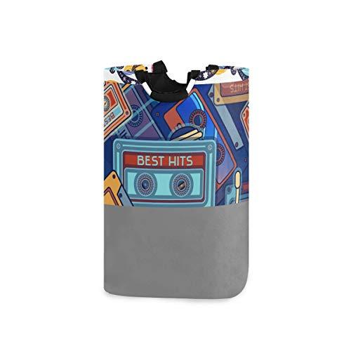 DYCBNESS Cesto para la Colada,Rocking Horses Retro Radio 80S Gris Blanco Bolas Rondas Imprimir,Cesta de lavandería Plegable Grande,Cesto de Ropa Plegable,Papelera de Lavado Plegable