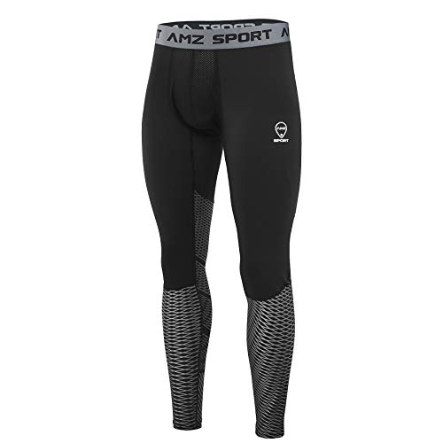 AMZSPORT Herren Sport Kompressionshose Tights Cool Dry Laufhose Leggings Pro Trainingshose Funktionswäsche XL Silber