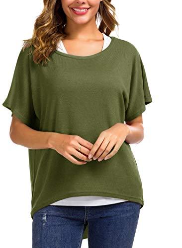 Meyison Damen Lose Asymmetrisch Sweatshirt Pullover Bluse Oberteile Oversized Tops T-Shirt Armee Grün-XXL