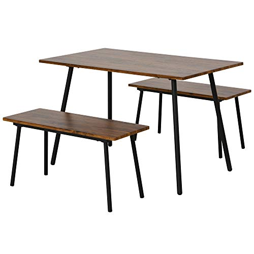 HOMCOM 3 Piece Table Dining Set with 2 Matching Benches, P2 Grade MDF Steel Legs Dining Room Able to Sit 6 People, Brown
