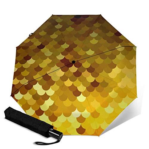 Paraguas de techo amarillo con diseño de tejas resistente al viento, protección UV, automático, triple pliegue, paraguas plegable para viajes, para hombres y mujeres