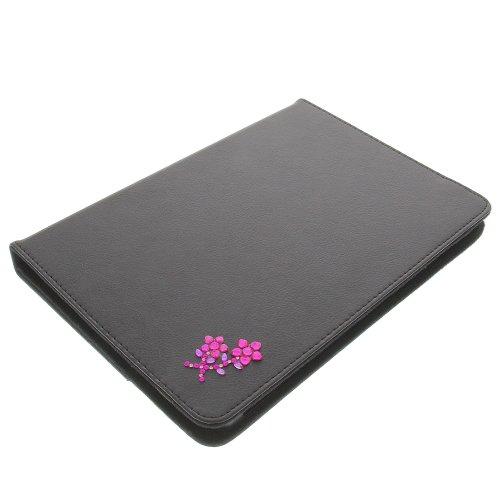 foto-kontor Tasche Strass Blume für Archos 101 Copper 101 Helium 4G Book Style Schutz Hülle Buch schwarz