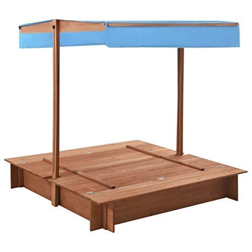 Sandbox da giardino per esterni, box da gioco per bambini, in legno di ardesia con tetto, 122 x 120 x 123 cm