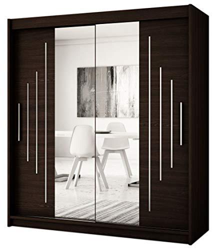 Kryspol Schwebetürenschrank York 1-150 cm mit Spiegel Kleiderschrank mit Kleiderstange und Einlegeboden Schlafzimmer- Wohnzimmerschrank Schiebetüren Modern Design (Wenge)