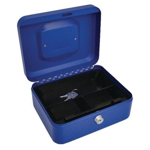 Glanz Cash Deposit Box Metall Sicherheit Geld Bank Münze Tray Holder verschiedenen color-size (blue-large)