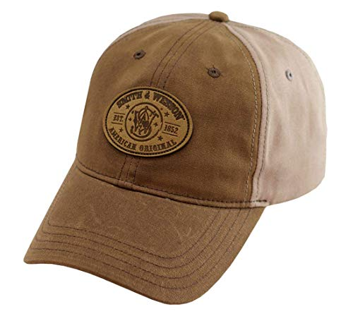 Smith & Wesson Men's Waxed Leather Circle Logo Cap, One Size, Brown
