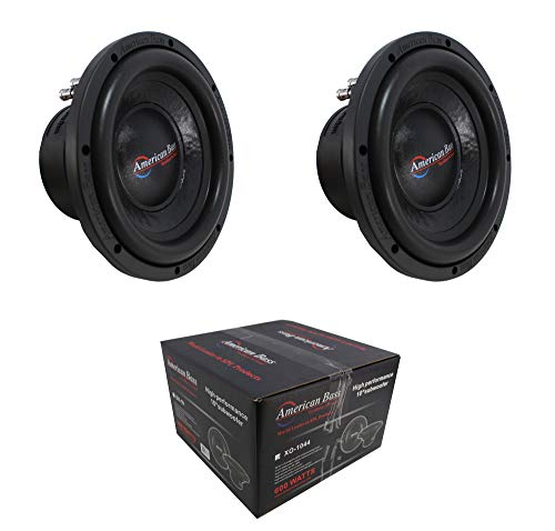 "2 x 10 Subwoofer 1200W 2"" 4 Ohm DVC Pro Car Audio American Bass XO-1044"