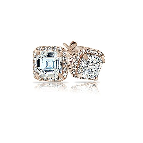 Rose Gold Flashed Sterling Silver Asscher-Cut Cubic Zirconia Halo Stud Earrings