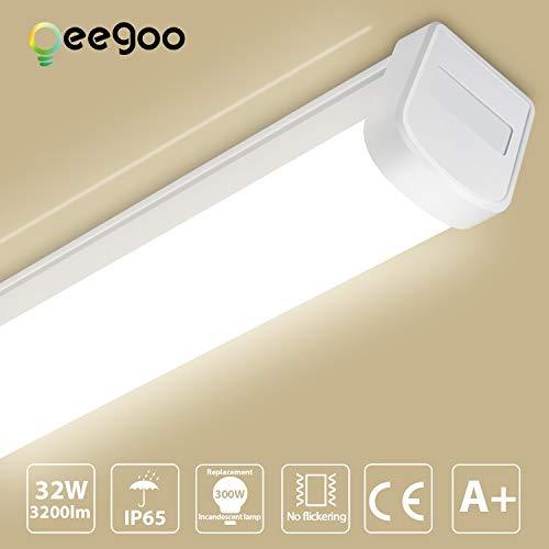 Oeegoo LED Feuchtraumleuchte 120CM, 32W 3200Lm LED Deckenlampe Garage(100Lm/W), Flimmerfrei IP65 Wasserdichte LED Röhre Als Wannenleuchte, Werkstattleuchte, Bürodeckenleuchte, 4000K