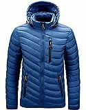 Jackets for men,Men's Lightweight Packable Quilted Hooded Puffer Jacket ,Down Alternative Coa-blue_L