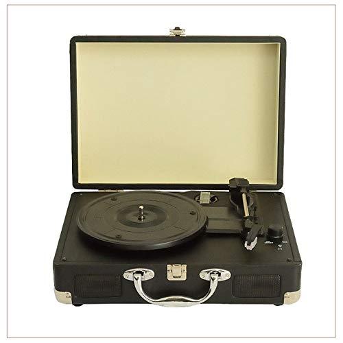 Yamyannie Tocadiscos de Vinilo Gramophone Vinyl Audio Portátil Bluetooth Altavoz Portátil Fonógrafo Player para Casa (Color : Black, Size : 35x25.5x13cm)