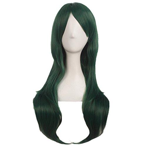 MapofBeauty 28 Zoll/70cm Langes Lockiges Seitenschläger Haarspitzen Kostüm Cosplay Perücke (Pine Grün)