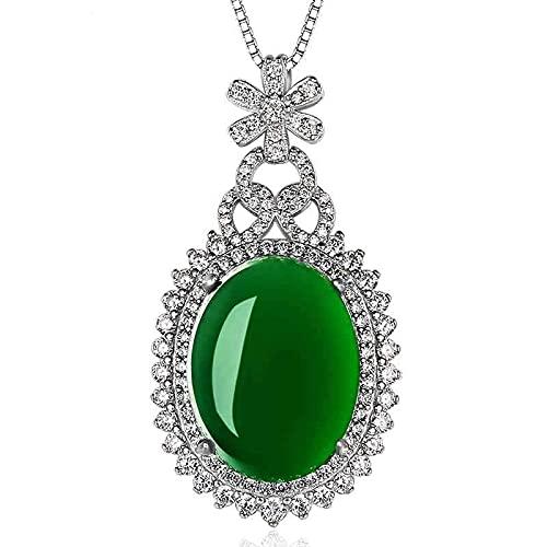 YTGLQAZ Collar para Mujer Collar Colgante para Mujer Color Corindón Collares De Jade Turquesa Clavícula Jade Esmeralda Colgante De Piedras Preciosas Regalos