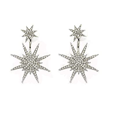 Mendom 1 Pair Snowflake Earrings Star Stud Unique Dangling for Women Earrings Jewelry Girls Romantic Christmas Gifts
