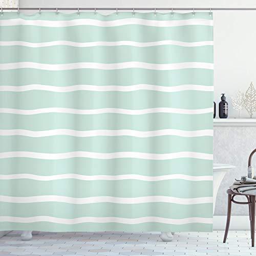 ABAKUHAUS Minze Duschvorhang, Wellenlinien weiß gestreift, mit 12 Ringe Set Wasserdicht Stielvoll Modern Farbfest & Schimmel Resistent, 175x200 cm, Mandelgrün Weiß