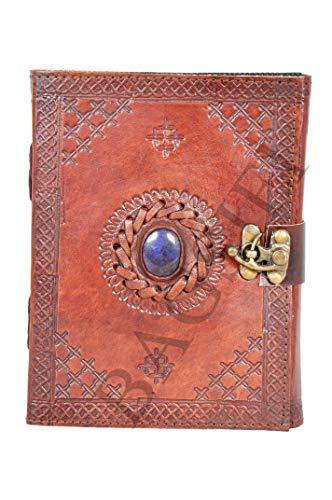 Diario de piel semipreciosa hecha a mano con piedra en relieve, libro en blanco de sombras, cuaderno de oficina, libro universitario, libro de poesía, libro de bocetos, bloc de notas, planificador