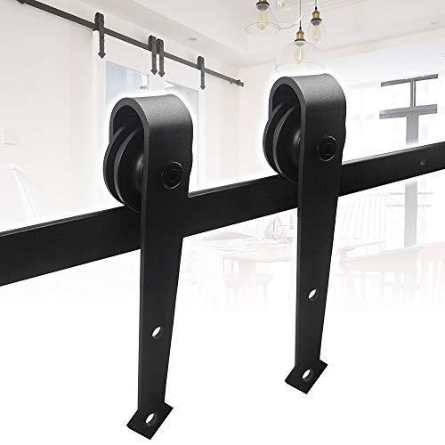 Hengda 6FT 183cm Herraje para Puerta Corredera Corredera Kit de Accesorios para Puertas Correderas Juego uego Completo con Ruedas y Carril