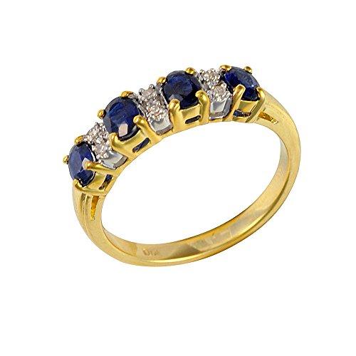 Ivy Gems 9ct Yellow Gold Blue Sapphire and Diamond Half Eternity Ring - Size K