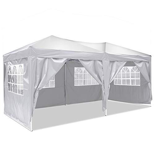 Bunao Pavillon 3mx6m, Wasserdicht Faltbare Pavillon Zelt Faltpavillon Festzelt mit 4 Seitenteilen für Garten/Party/Hochzeit/Picknick/Markt (Reines Weiß)