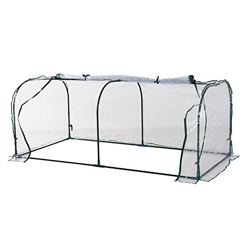Outsunny Portable Mini Cloche Greenhouse with Zipper Doors, 7' L x 3' W x 2.5' H, Waterproof UV Protected Cover