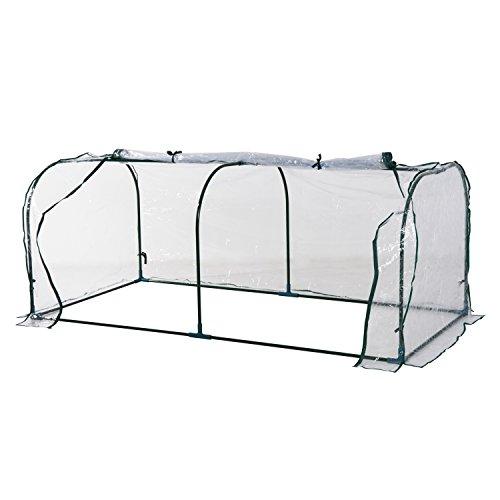 Outsunny Invernadero Caseta 200x100x80cm para Jardín Terraza Cultivo de Plantas Semilla Invernadero de Jardín Vivero Casero Tipo Túnel Marco Acero y PVC
