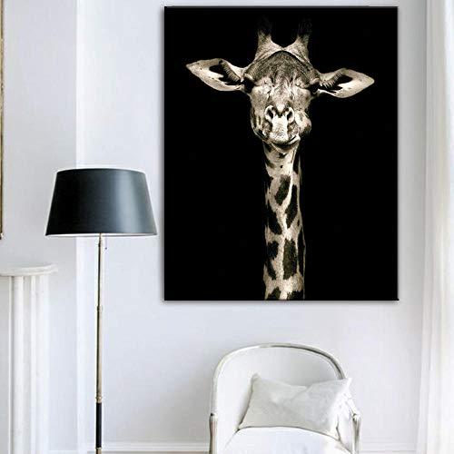 Bilder Auf Leinwand,Tierisches Schwarz Unten Giraffe/Kunst Malerei Panel Drucke Leinwand Bild Dekoration Poster Öl Hängende Galerie Geschenke Büro Wohnzimmer Zum Schlafzimmer Bar, 60 X 80 Cm Ohne