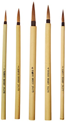 School Specialty 443474 Watercolor Paint Brush Set, Bamboo Handle, Fine Brown Hair, Assorted Sizes (Pack of 5)