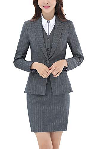 Vrouwen Drie Stukken Office Lady Stripe Blazer Zakelijke Pak Set Vrouwen Passen Werk Rok/Broek, Vest Jas