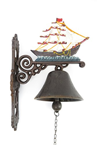 Gartenglocke Wandglocke Segelschiff Windjammer Gusseisen Eisen Eisenglocke Metallglocke Schiffsglocke Antik rustikal braun Bauernhof Hofglocke