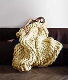 Chunky Knit Blanket Merino Wool Hand Made Throw Boho Bedroom Home Decor Giant Yarn (2432in(6080cm), Light Yellow)