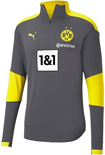 PUMA Herren Borussia Dortmund Training 1/4 Zip Top, Herren, Borussia Dortmund Trainingsjacke mit 1/4-Reißverschluss, Asphalt-Cyber Yellow, Small