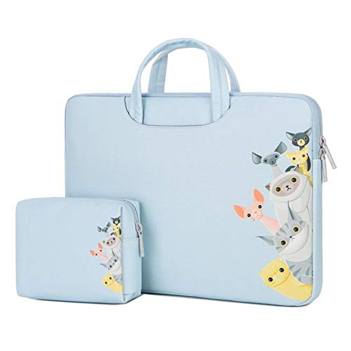 Soft PU Laptop Bags for Dell Asus Lenovo HP Acer Handbag Computer 11 13 14 15 inch for MacBook Air Pro Notebook 15.6 Sleeve Case-Blue Dog_15-inch