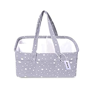 Baby Diaper Caddy Organizer- Baby boy girl Gift bag basket | Extra Large Portable Nursery Storage Basket for Changing Table or Car-Baby Registry Must Haves Neutral…