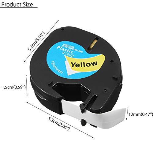 Ji Yun 91201/91200/12267 LT Etikettenband kompatibel for Dymo LetraTag 12mmx4m Cassette Wasserdicht Band (Farbe : Weiß)