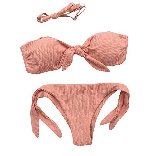 Traje de Baño Mujer Dos Piezas Sexy 2019 PAOLIAN Bikini Brasileña Push Up con Relleno Bañadores Enteros Bandeau Palabra de Honor Tanga Cintura Alta Tankinis Sin Tirantes Playa