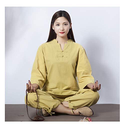 Mr. Hao New Tai Chi Uniform Fitness Sports de Plein air Vêtements Coton et Lin Vêtements de Yoga Femme Lay Méditation Méditer Méditation Tai Chi Vêtements Suit,J,L