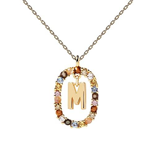 PDPAOLA - Collar Letra M - Plata de Ley 925 Bañada en Oro de 18k - Joyas para Mujer
