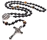 St Benedict Black Rosary Beads Catholic – Rugged Onyx Rosary – Handcrafted Stone Antique Rosary with Stainless Steel St Benedict Crucifix and Medal - Rosarios Catolicos para Hombre