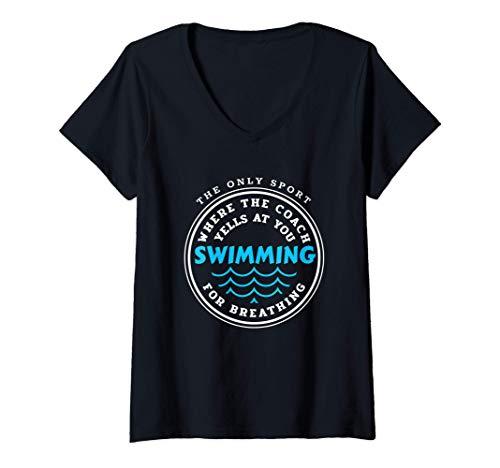 Donna Allenatore di nuoto Nuotatore / Squadra di nuoto / Maglietta con Collo a V