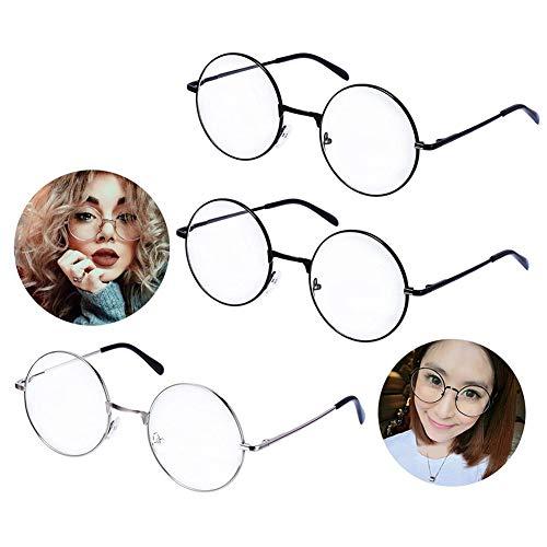 Ukainiemai 3 pares de gafas redondas unisex, marco de metal, color negro, plateado, lentes transparentes, montura de gafas, para hombre y mujer, montura de gafas, cristal