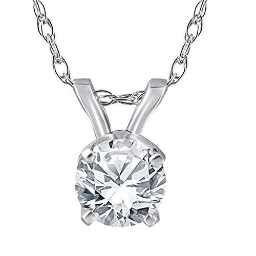 3/8 Ct Solitaire Natural Diamond Pendant Necklace 18