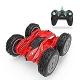 AMITD Coche Teledirigido, 20km/h 2.4GHz Coches Teledirigidos de Alta Velocidad Doble Lado Rotación de 360°, 4WD Coche RC con 2 Baterías Recargables, Regalo de Juguete para Niños,Rojo