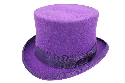 VIZ Chapeau unisexe en feutre 100 % laine fait à la main Violet - Violet - violet, Large