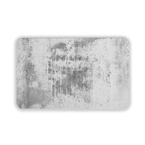 Tapete para Piso, tapetes de Bienvenida de Caucho Natural Duradero ,Background Old White Dirty Dark Wall Textured Vintage Rough Gray Art Effect Grungy Paint Surface CRA,Alfombra para Interiores y