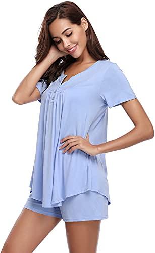 QIN.J.FANG-MY Verano Nuevos Trajes de Pijama, Conjunto de Pijama Corto para Mujer, Conjunto de Ropa de Dormir para el Verano, Ropa de Dormir Suave de algodón de Manga Corta