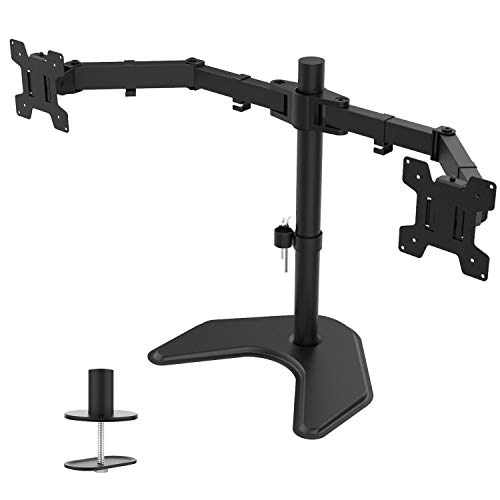 WALI Free Standing Dual LCD Monitor Fully Adjustable Desk Mount Fits 2 Screens up to 27 inch, 22...