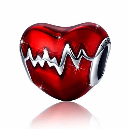 abalorios de plata de ley 925 Latido Charm Bead Encanto Colgante del corazón del Amor de esmalte rojo para collar de pulsera collar (rojo)